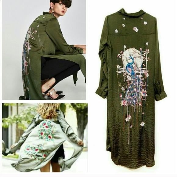 cacdd134 Zara Tops | Embroidered Peacock Back Tunic Shirtdress Xs | Poshmark